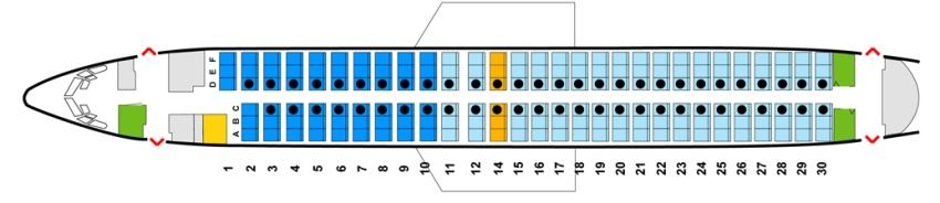 Число пассажирских мест Boeing